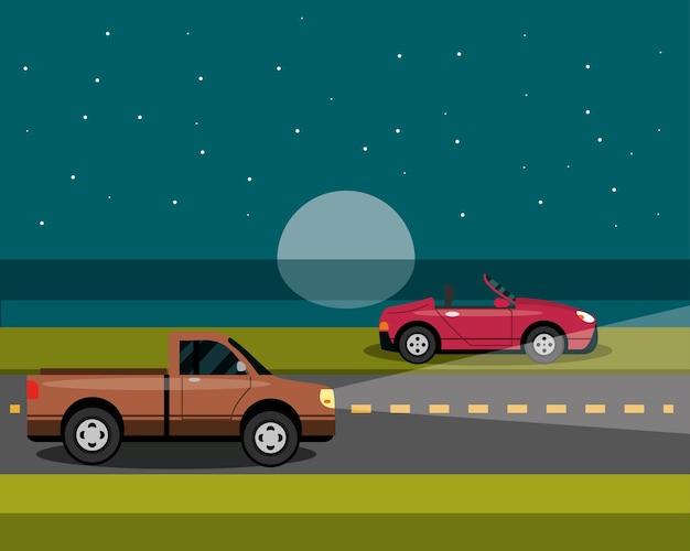 Carros estacionados e dirigindo à noite em estilo cartoon, ilustração de transporte urbano Vetor Premium