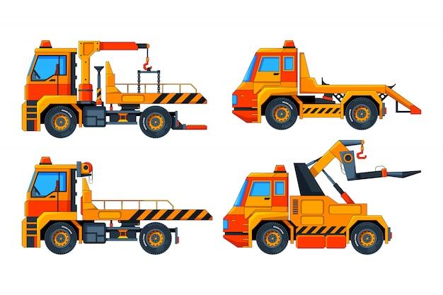 Carros evacuadores. várias imagens de vetor de transporte Vetor Premium