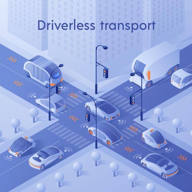 Carros inteligentes dirigindo no trânsito da cidade na encruzilhada Vetor Premium