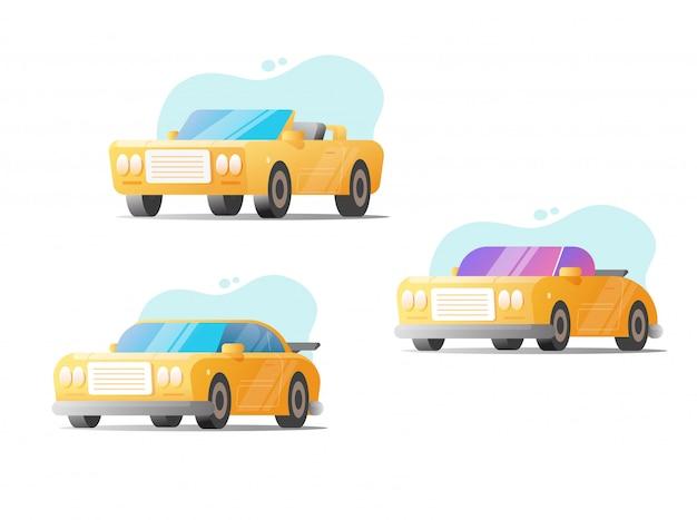 Carros retrô e veículos modernos de esporte vector conjunto isolado no fundo branco plana cartoon clipart ilustração Vetor Premium