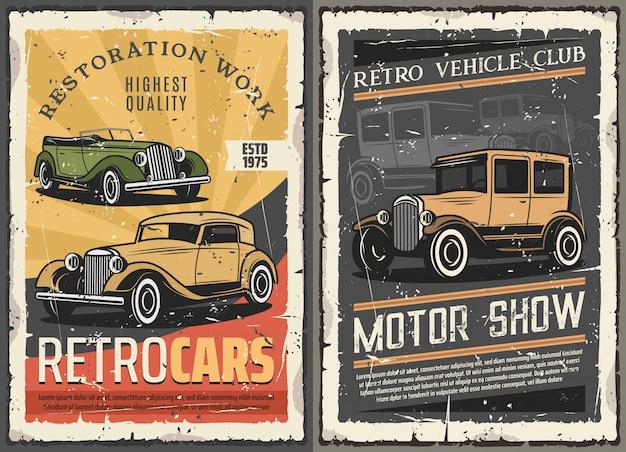Carros retrô restauração garagem, vintage motor show Vetor Premium