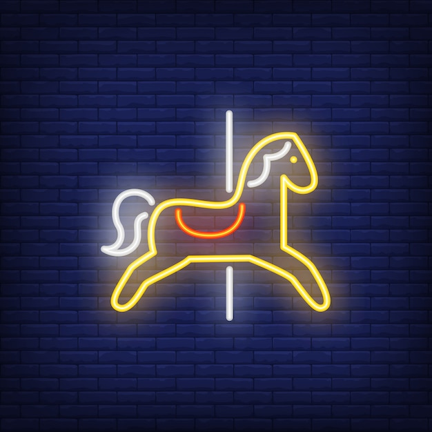 Carrossel, cavalo, néon, sinal Vetor grátis