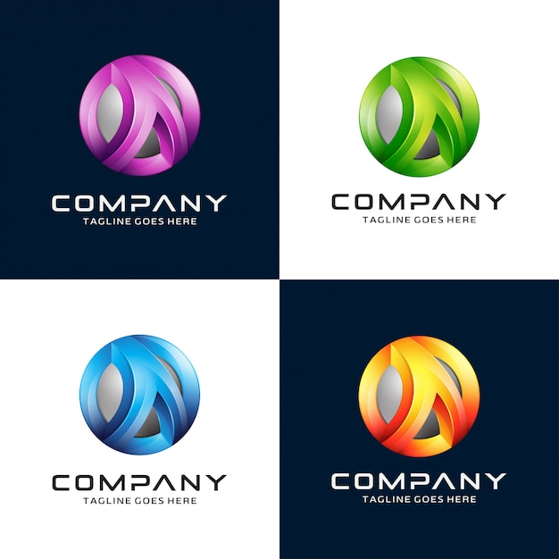 Carta 3d abstrata um logotipo Vetor Premium