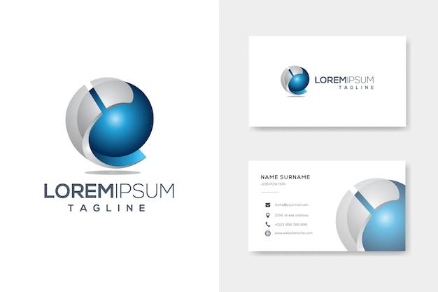 Carta abstrata criativa eu modelo de logotipo de esfera 3d com cartão Vetor Premium