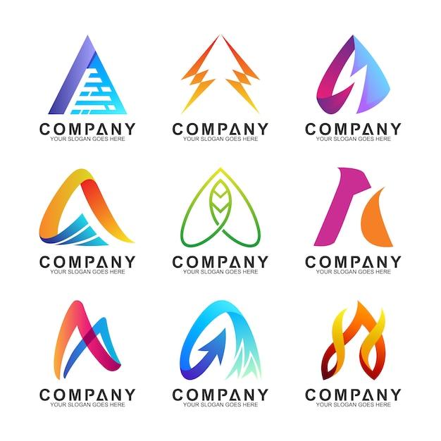 Carta abstrata um logotipo modelos Vetor Premium