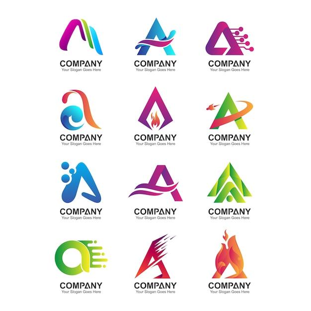 Carta abstrata um modelo de logotipo, conjunto de ícones de identidade de empresa, coleção de nome comercial Vetor Premium