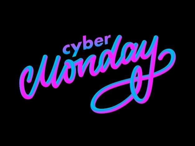 Carta de cyber segunda-feira. banner de venda segunda-feira cyber. Vetor Premium