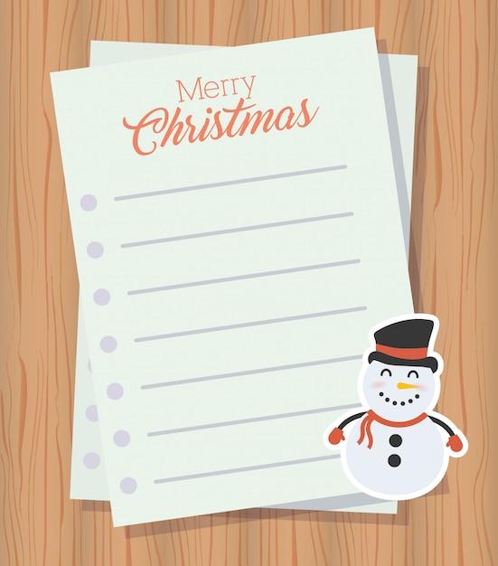 Carta de feliz natal com caráter boneco de neve bonito Vetor grátis