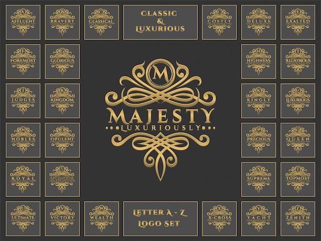 Carta de luxo logotipo definido com estilo clássico ornamento Vetor Premium