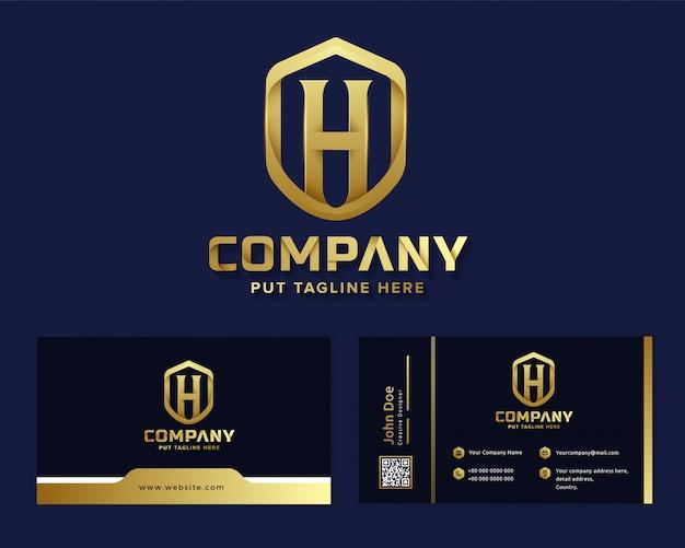 Carta de luxo premium inicial h logotipo modelo para empresa Vetor Premium