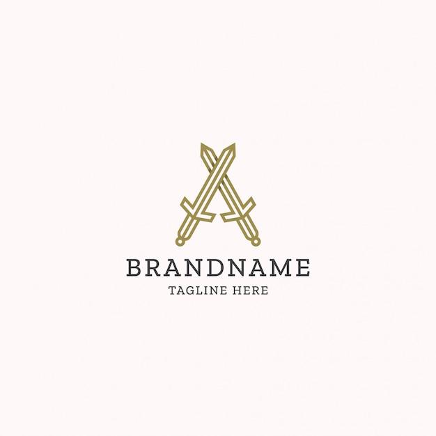 Carta de monograma a modelo de design de logotipo de espada Vetor Premium