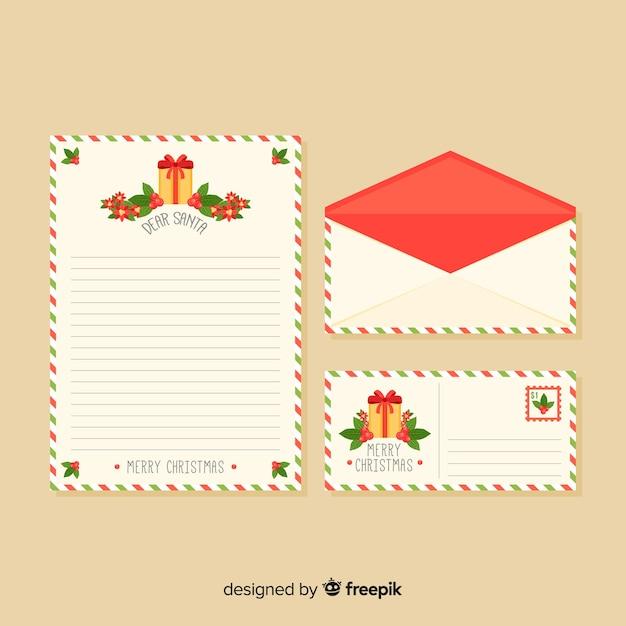 Carta de natal com envelope com sinos Vetor grátis