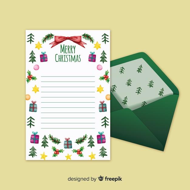 Carta de natal com envelope de padrão de pinho Vetor grátis