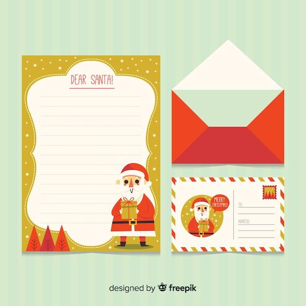 Carta de natal e envelope Vetor grátis
