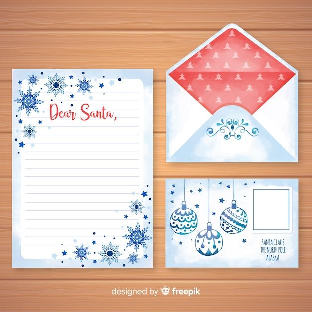 Carta de natal em aquarela e modelo de envelope Vetor grátis