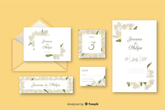 Carta de papelaria e envelope para casamento em tons de amarelo Vetor grátis