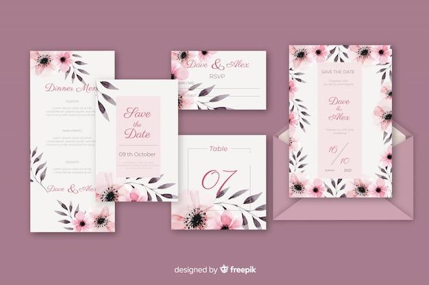 Carta de papelaria e envelope para casamento em tons de violeta Vetor grátis