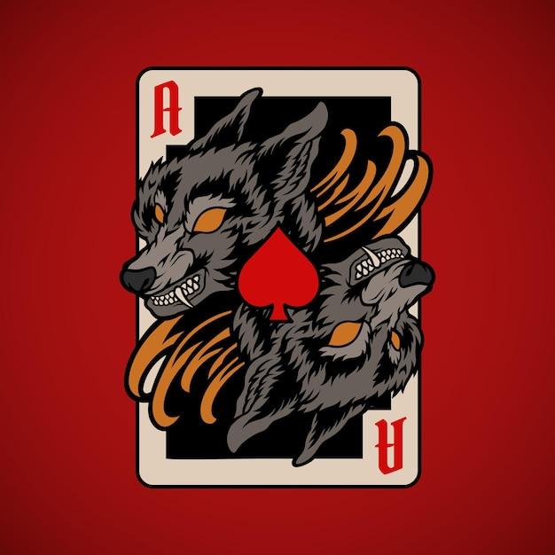 Carta de pôquer lobo Vetor Premium