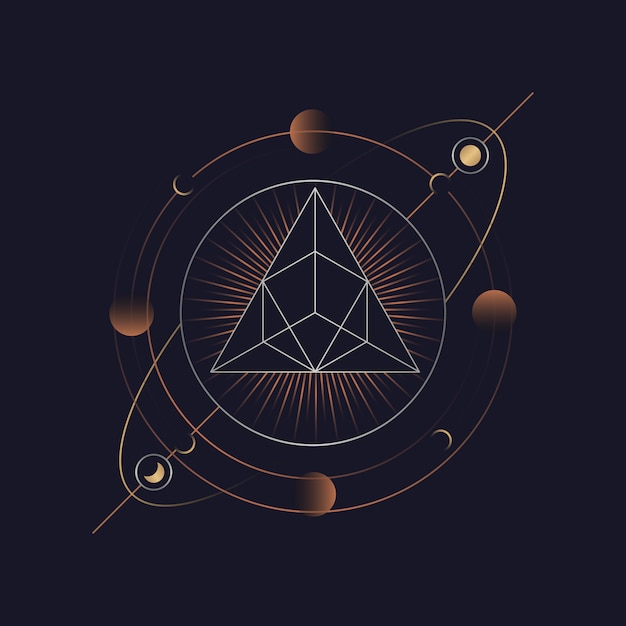 Carta de tarô astrológico de pirâmide geométrica Vetor grátis