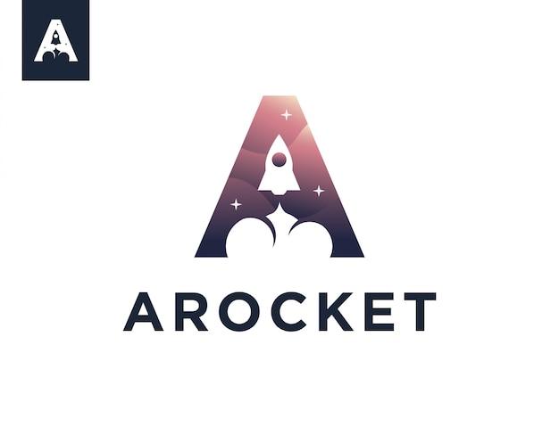 Carta de um modelo de logotipo de foguete Vetor Premium