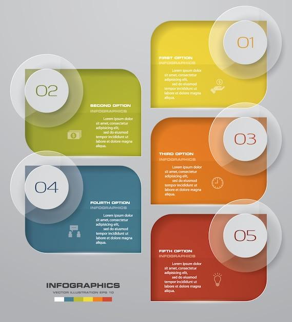 Carta do elemento dos infographics de 5 etapas para a apresentação. Vetor Premium
