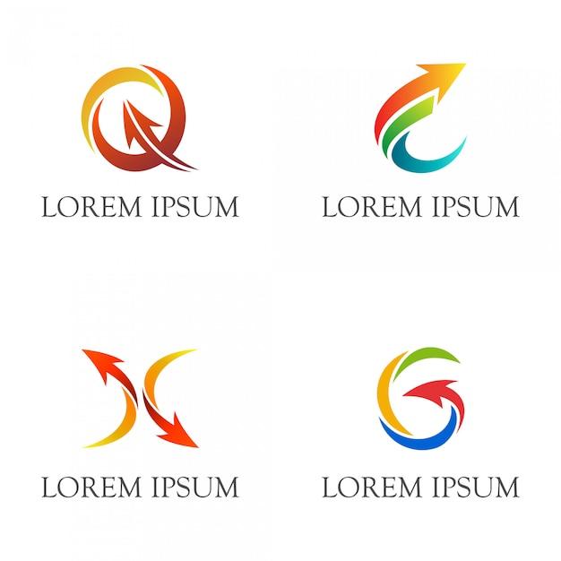 Carta inicial, com, setas, negócio, logotipo, jogo Vetor Premium