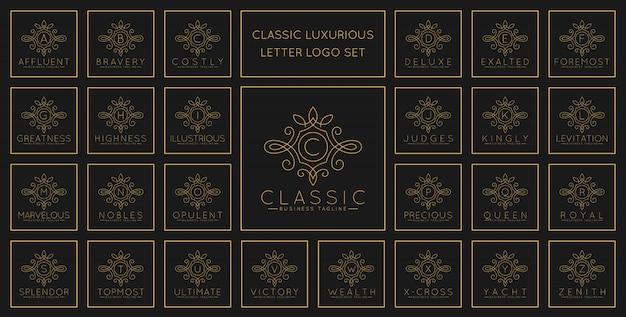 Carta luxuosa logo set com estilo de ornamento de arte clássica linha Vetor Premium