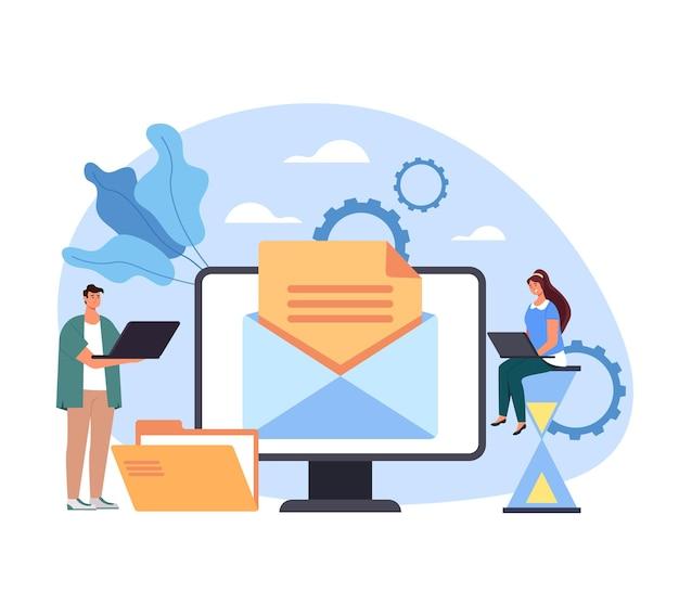 Carta on-line digital de conteúdo de mídia de comunicação de site de rede de serviço de correio. Vetor Premium