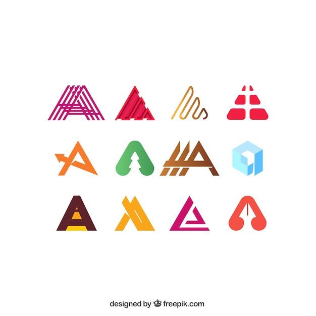 Carta uma coleção logotipo Vetor grátis
