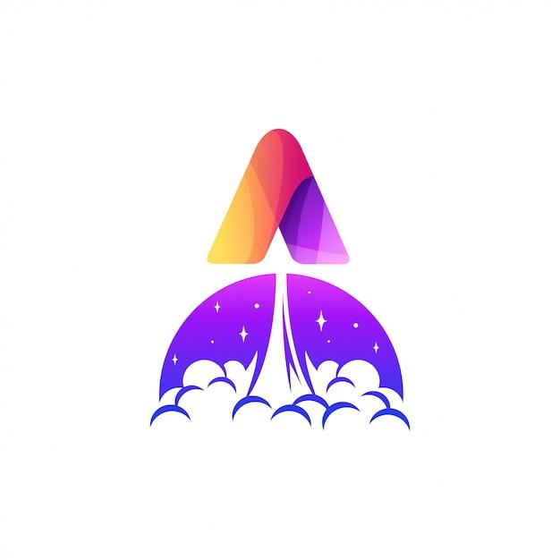 Carta uma ilustração de design de logotipo de foguete Vetor Premium