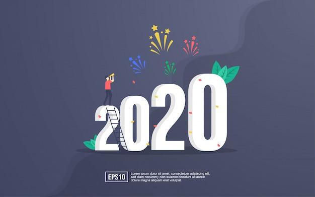 Cartão 2020 com pessoas comemorando o ano novo e assistindo explosões de fogos de artifício no céu à noite Vetor Premium