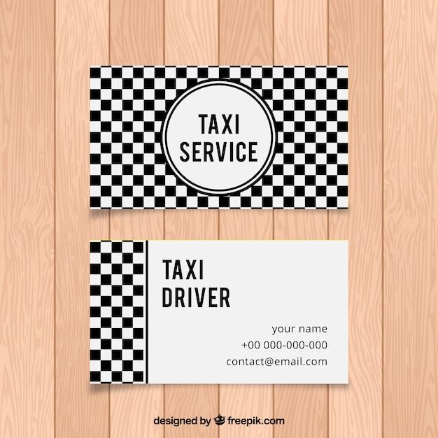 Cartão abstrato checkered preto e branco de motorista de táxi Vetor grátis