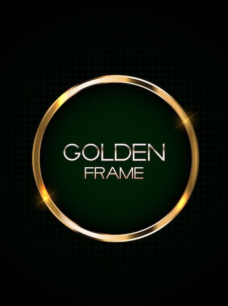 Cartão abstrato com moldura dourada Vetor Premium