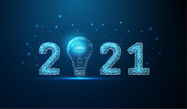 Cartão abstrato feliz ano novo com lâmpada. Vetor Premium