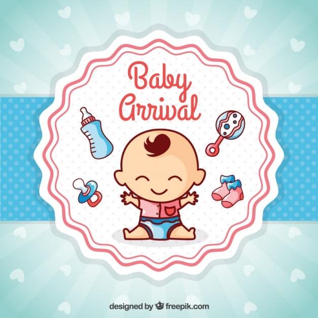 Cartão agradável chegada do bebê Vetor grátis