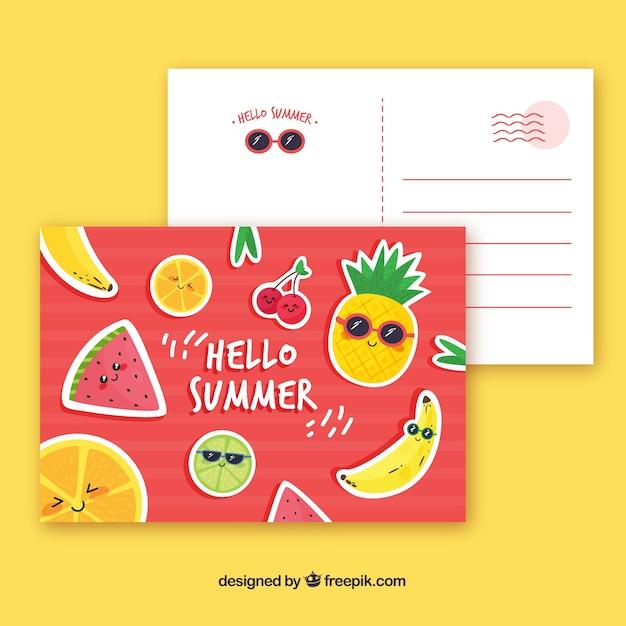 Cartão agradável de verão Vetor grátis