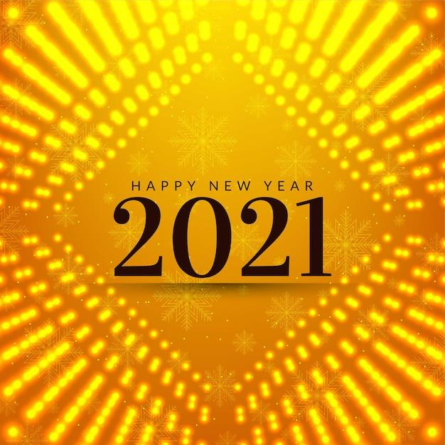 Cartão amarelo brilhante de feliz ano novo 2021 Vetor grátis
