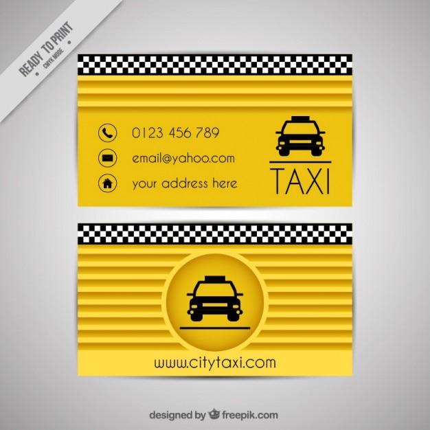 Cartão amarelo de motorista de táxi Vetor grátis