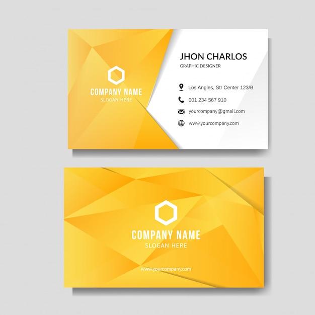 Cartão amarelo moderno com baixo poli Vetor Premium