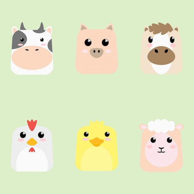 Cartão animal bonito do ícone do bebê dos desenhos animais Vetor Premium