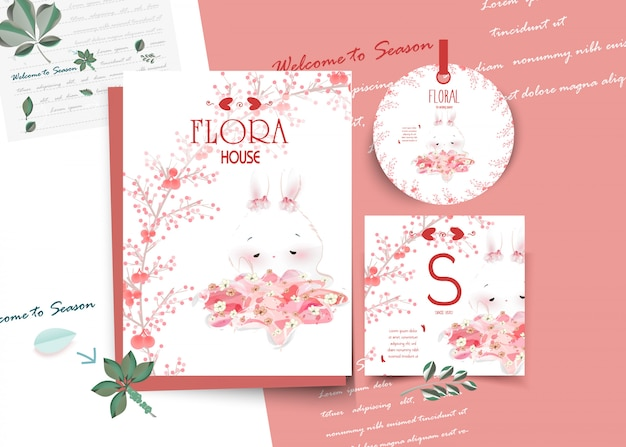 Cartão animal bonito floral do vintage no estilo da aguarela. Vetor Premium