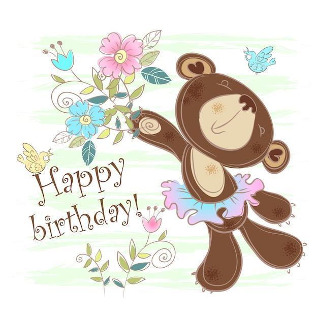 Cartão aniversário, com, um, cartão urso Vetor Premium