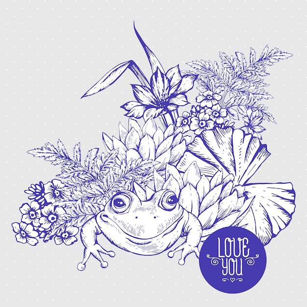 Cartão aquoso das flores da lagoa do vintage Vetor Premium