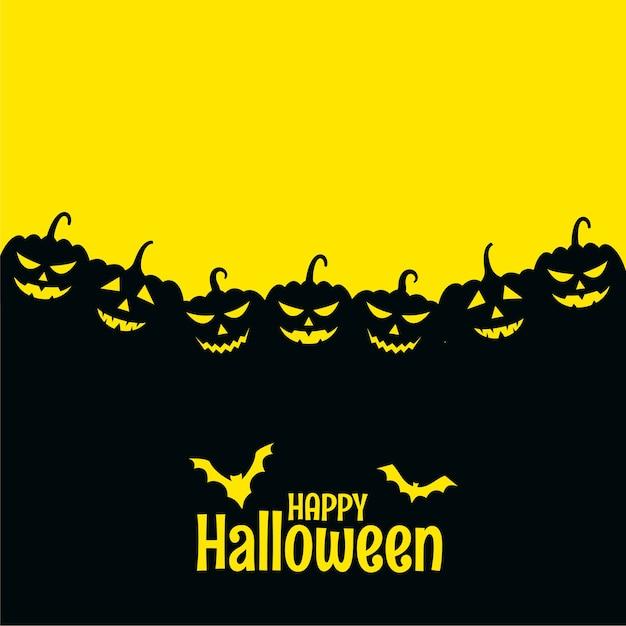 Cartão assustador de feliz dia das bruxas com morcegos e abóbora Vetor grátis