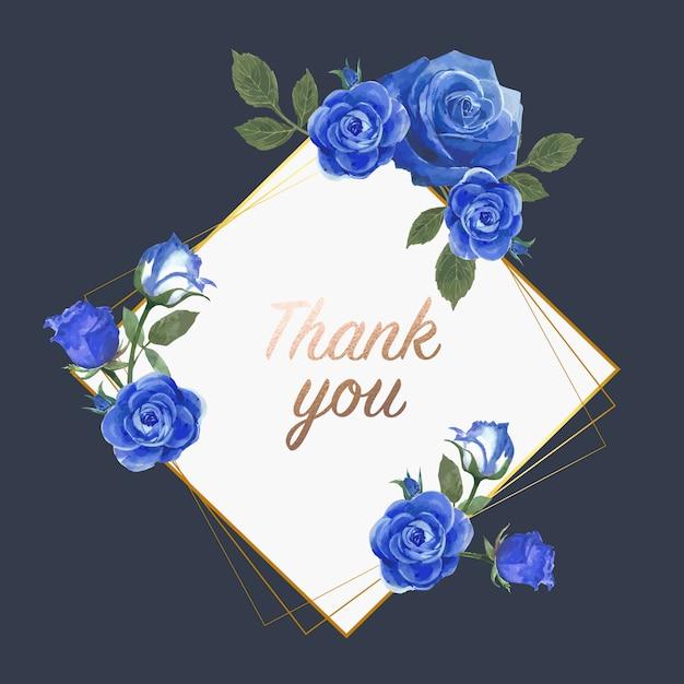 Cartão azul aquarela flores rosa Vetor grátis