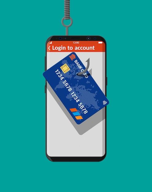 Cartão bancário e anzol. Vetor Premium