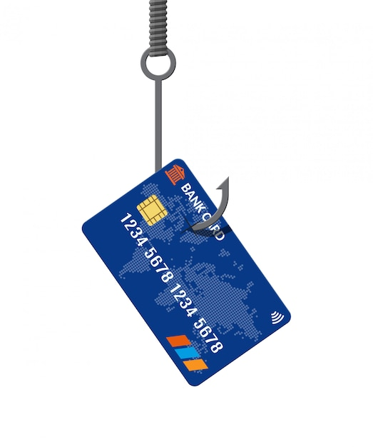 Cartão bancário no gancho de pesca. conceito de armadilha de dinheiro. Vetor Premium