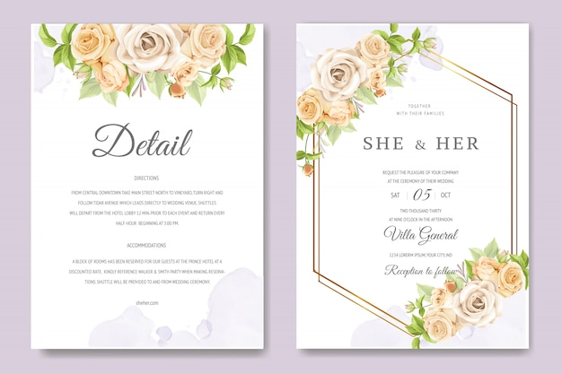 Cartão bonito convite com modelo floral e folhas colorido Vetor Premium