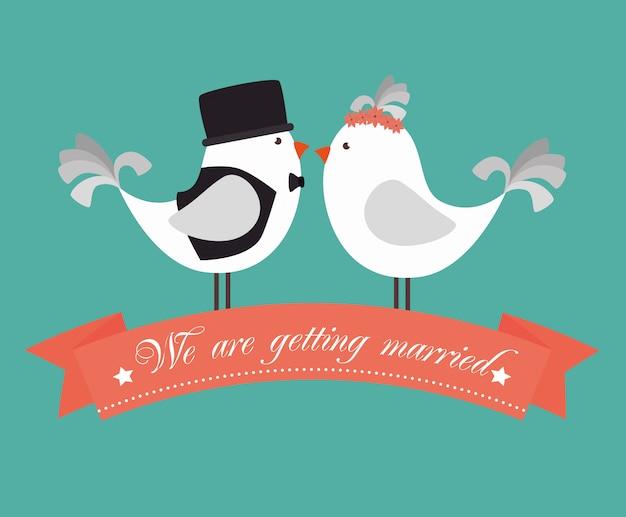 Cartão bonito de casamento Vetor Premium