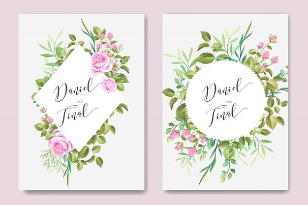 Cartão bonito do casamento e do convite com quadro floral e das folhas Vetor Premium